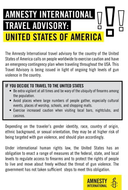 Amnesty International Travel Advisory for the USA