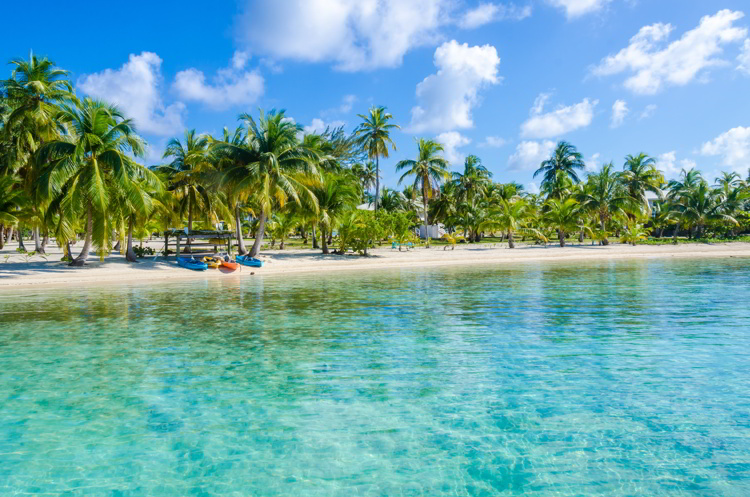 Small tropical island at Barrier Reef with paradise beach in Belize